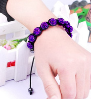 Christmas Gift (Minimum $ 5) 00027Disco Magnetite Ball Beads Macrame Crystal Shamballa Bracelet XMAS Gift Jewelry Purple