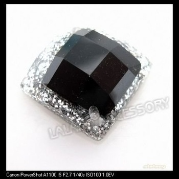Promotion 120pcs/lot Square Silvery Brim Black Rhinestone Resin Sew-on Beads Fit Garment&Bags Decoration 12x12mm 24128