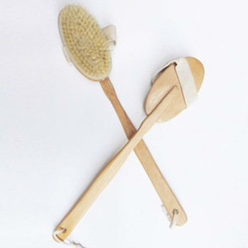 Free Shipping Natural Wooden and Bristle Bath Shower Body Back Brush Spa Scrubber With Long Detachable Handle
