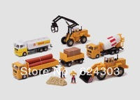 Oil tank truck wood car mixer truck bulldozer engineering car set model 0681 - 04
