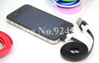 20pcs/lot ,3Meters ,Newest High quality 3Meters noodles flat line USB Data Cable for iPhone 4/4S/3GS free shipping