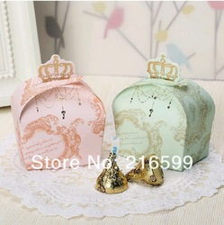 Free Shipping New 200pcs 2 Colors (Light green and Light pink) Crown Wedding Favor Candy Boxes Party Gifts Wedding supplies(China (Mainland))