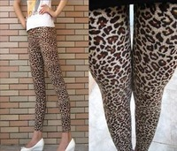 Cool Fashion Women Brown Leopard Print Stretchy Leggings,Summer Or Fall Thin Mid Waist High Stretchy Rock Pants Pencil Pants.