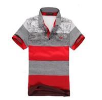Free shipping-2013 new arrival men's Wide printed stripes,100% cotton short sleeve T-shirt /men's designer brand t shirt