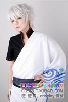 Sakata Gintoki silver white fluffy short hair anime cosplay wig free shipping