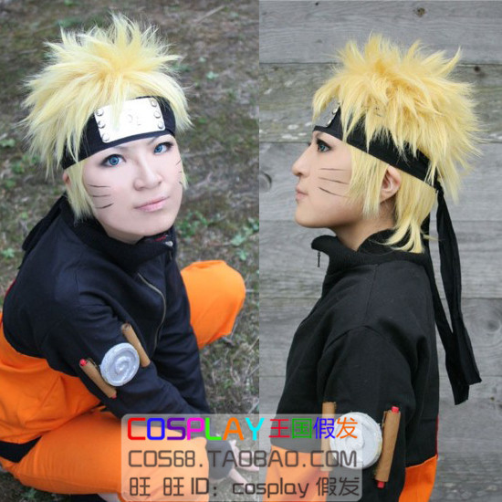 Uzumaki Naruto Gold Short Shaggy Layer Anime Cosplay Wig .Synthetic Hair.Free Shipping(China (Mainland))