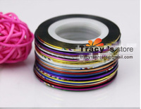 FreeShipping 32Color Metallic Yarn Mixed Glue Adhesive Stick Strip Rolls Striping Tape Line Nail Art Decoration Sticker Decal