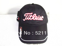 Free Shipping Fashion Black Golf Hat Cap Tour Hat 100% Cotton with Magnetic Mark NH005