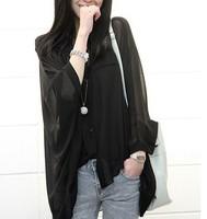 Plus size clothing batwing sleeve loose medium-long transparent chiffon shirt perspectivity shirt sun protection clothing air