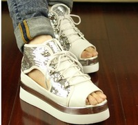 New arrival 2013 sandals female open toe paillette lacing platform women's fashionable casual shoes flat heel platform