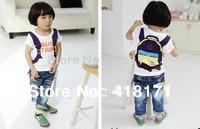 2014New children t shirt boys cute backpack print t shirt kids cotton short sleeve summer top 5pcs/lot free shipping