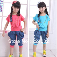 Spring 2013 girl fashion children suit for summer rabbit sports suits with wholesale and retail  Free shipping Aince