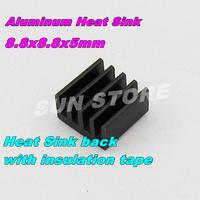 Free Shipping 10PCS/LOT IC Radiator 8.8x8.8x5mm Black Mini Aluminum Heat Sink MOS Tube Memory Module Heat Sink