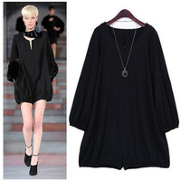 celebrity  loose jumpsuit  long sleeve fleece solid color black cotton dress casual elegant thickening ED0504