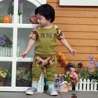 Wholesale Babies Summer Clothes Set Green Beidge Camouflage Patchwork Design Baby Girl & Boy Summer Garment Wear T-Shirt + Pants