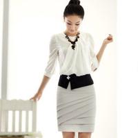 blouse office lady skirt business suit professional set   slim OL plus size chiffon shirt  WS1026