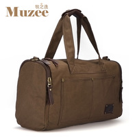 2013 New pure cotton washed Canvas travel bag men women leather bucket handbag shoulder cross-body luggage bags large capacity
