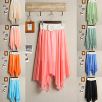 Bohemia chiffon bust skirt full dress expansion skirt irregular bust skirt beach skirt