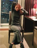 Cut out Dress Turtleneck Full-Length Hemp Flowers Knitted Casual Long Sleeve Sweater Business Dress WD1102