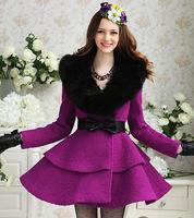 s  Purple winter lady coat turtleneck Black fur Collar  jacket girls outwear dress  LW1225
