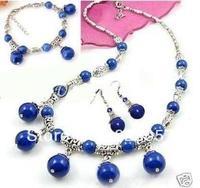 Tibet Silver Lazuli Lapis Necklace Bracelet Earring Set Fashion jewelry