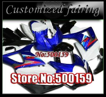 Customized fairing -Blue white fairing for 2007 2008 GSX-R1000 SUZUKI K7 GSXR 1000 07 08 GSXR1000 fairings kit S1721