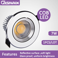 Free shipping (1pcs/lot) super bright led spotlight bulb reflective facemask  85-265vac 7w COB spotlight led