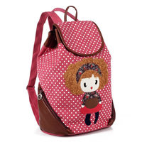 Primary school students school bag double-shoulder canvas cartoon little girl doll dot casual backpack