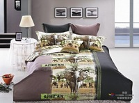 Hot Beautiful 100% Cotton 4pc Doona Duvet QUILT Cover Set bedding set Full / Queen/ King size 4pcs animal tiger elephant leopard