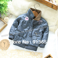 Free shipping Retail new 2013 fashion baby clothing kids winter coat girl Faux Leather jacket children warm outerwear