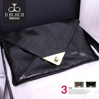 free shipping one piece of  black  champagne Snakeskin envelope lock catch hasp  shackle  fashion women's dinner  handbag bag