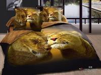 Hot Beautiful 100% Cotton 4pc Doona Duvet QUILT Cover Set bedding set Full / Queen/ King size 4pcs animal sweet lion leopard