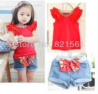 childrens clothing suit 2 pcs sets girl's bubble sleeve tops coat t shirts + pants Bow jeans shorts set whole suits outfits