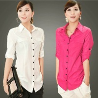 Free Shipping! 2013 Summer Women Plus Size Clothing Solid Color OL Half Lenght Sleeve Slim Medium-Long Casual Shirt  Top B0639#