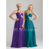 2014 New Fashion Custom made Colorful Sweetheart Criss-corss One-shoulder Chiffon Straight Prom Dress