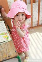 childrens clothing suit 3 pcs sets girl's polka dot tops suspender skirt + underwear + hat sunbonnet set whole suits outfits