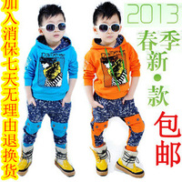 Children's clothing male female child spring 2013 cartoon unisex set child casual set clothes