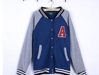 Female spring and autumn long-sleeve button stand collar color block a letter baseball uniform decoration fleece sweatshirt slim