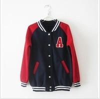 New arrival 2013 summer female stand collar a letter baseball uniform thickening fleece sweatshirt slim short jacket female