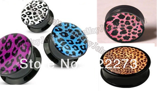 [Min. Order is $20]Size 8mm Mixing designs&images LeopardFlesh Tunnel Ear plug ear expander Screw-Fit body jewelry MJSPG648382(China (Mainland))