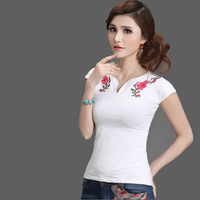 Free shipping Hot-selling national 2013 summer trend embroidered V-neck short-sleeve T-shirt fish thread shaping r7003