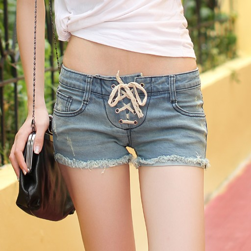 2013 summer women&#39;s the tide low waist retro blue lace rope to do the old denim shorts fringe shorts(China (Mainland))