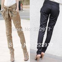 Free Shipping Chic Women Fashion Harem Skinny Long Trousers OL Casual Slim Bow Pants A45#
