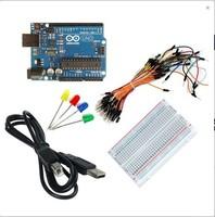 start Kits for 1pcs uno r3 + 1pcs USB cable+1pcs Solderless Breadboard +65pcs Breadboard Jumper Cables+4pcs led