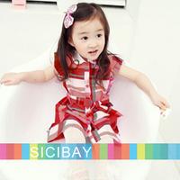 Girl Garden Dress Summer Leisure Dress Kids Fashion Scottish Dress Plaid Dress,Free Shipping  K0510