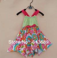 6PCS/lot&Free Shipping!Big Size summer 2013 cotton,the dress of the girl,girls flower sleeveless dress baby girl summer dress