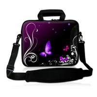 "15""15.4""15.6"" dark purple Butterfly deisgn Laptop Neoprene Shoulder Case Notebook PC Carrying Bag for sony hp"