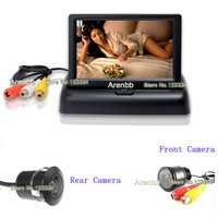 Parking camera system 4.3 inch LCD TFT foldable monitor+Rear view night vision car camera+Front hd camera  AR-784  free shipping