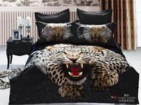 Hot Beautiful 100% Cotton 4pc Doona Duvet QUILT Cover Set bedding set Full / Queen/ King size 4pcs animal leopard black tiger