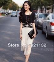 RJ2306 Free Shipping Plus Size Charming Round Neck Color Block Crossed Waist Ruffles Bohemian Style Long Dress Black